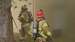 Πατέρας πετά το μωρό του από το παράθυρο για να το σώσει από τη φωτιά και πυροσβέστης το πιάνει στον