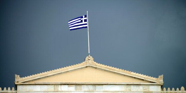 Black could over Hellenic Parliament, Athens,