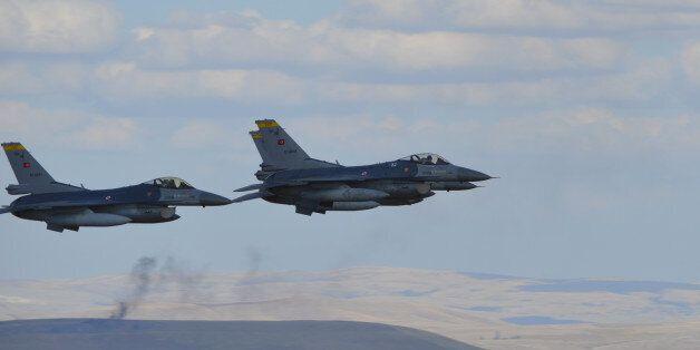 Ankara, Turkey - September 13, 2015: Turkish Air Force's 3 F-16 Falcon is at the air show over Dua Hill...