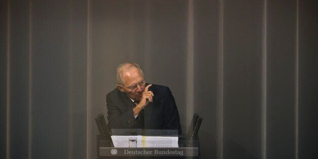 BERLIN, GERMANY - AUGUST 19: German Finance Minister Wolfgang Schaeuble attends the debate on financial...