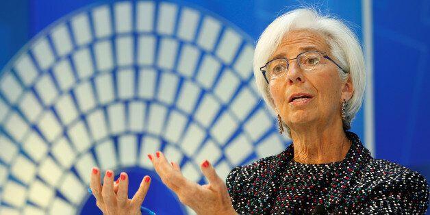 International Monetary Fund (IMF) Managing Director Christine Lagarde moderates a forum on Innovation,...