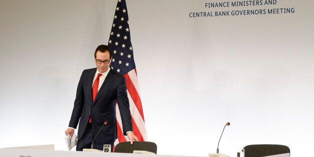 US Secretary of the Treasury Steven Mnuchin arrives for a press conference at the G20 Finance Ministers...