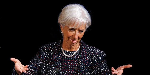 International Monetary Fund (IMF) Managing Director Christine Lagarde delivers a speech at the Solvay...