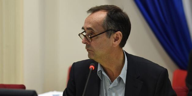 Beziers' mayor Robert Menard leads a municipal council in Beziers, southern France, on October 18, 2016,...