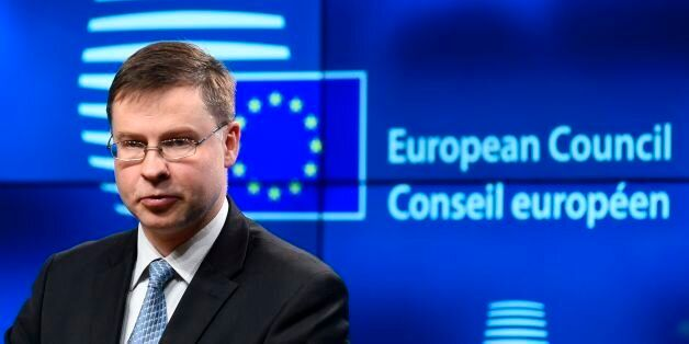Vice-President for Euro and Social Dialogue Valdis Dombrovskis gives a press conference after the Tripartite...