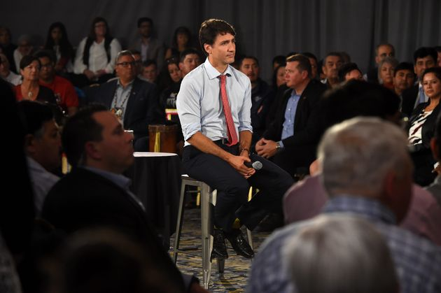 Liberal Leader Justin Trudeau listens to a question at a campaign rally in Saskatoon on Sept. 19,