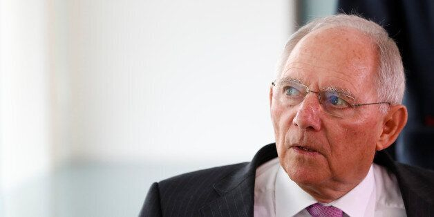 German Finance Minister Wolfgang Schaeuble before the weekly cabinet meeting in Berlin, Germany, April...