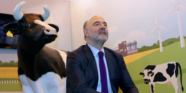 European Commissioner for Economic and Financial Affairs, Pierre Moscovici sits at the European Commission...