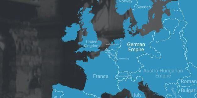 Ένας διαδραστικός χάρτης δείχνει πως άλλαξαν τα σύνορα της Ευρώπης μετά τον Α' Παγκόσμιο
