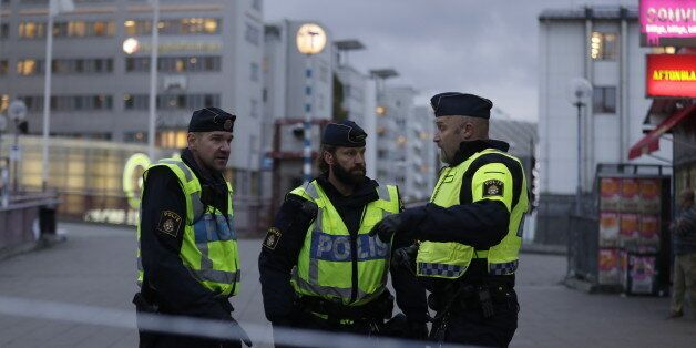 STOCKHOLM, SWEDEN - OCTOBER 17: Police shut down due to a suspicious object found by police outside the...