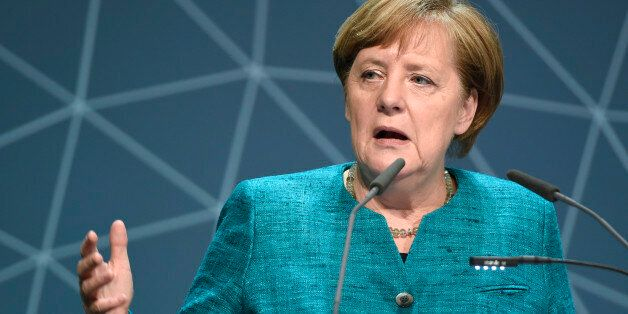 German Chancellor Angela Merkel delivers her speech at 10th National Maritime conference in Hamburg,...