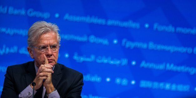 IMF Spokesman Gerry Rice attends a press conference at the 2016 Annual Meetings of the International...
