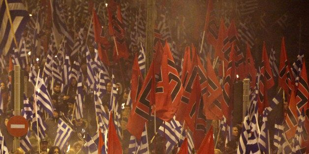 Golden Dawn rally in Athens, Greece, January 28, 2017. Supporters of the Greek ultra nationalist party...