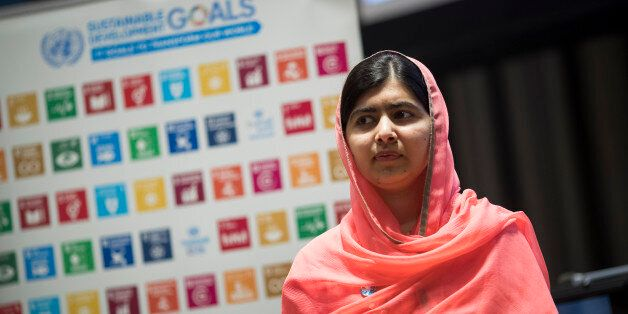 NEW YORK, NY - APRIL 10: Malala Yousafzai looks on during a ceremony to name her as a United Nations...