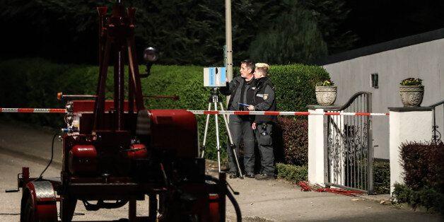 DORTMUND, GERMANY - APRIL 12: Police investigates on April 12, 2017 in Dortmund, Germany, near the team...