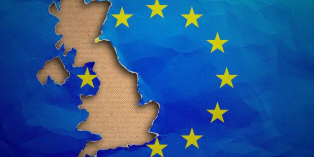 Piece in form of UK borders torn out from the flag of the European Union. United Kingdom withdrawal from...