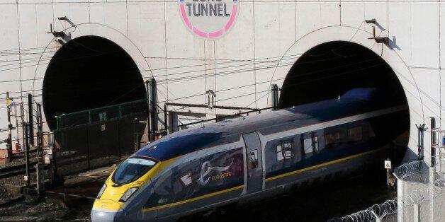 A new high-speed Eurostar e320 train leaves the Channel Tunnel in Coquelles, near Calais, northern France,...