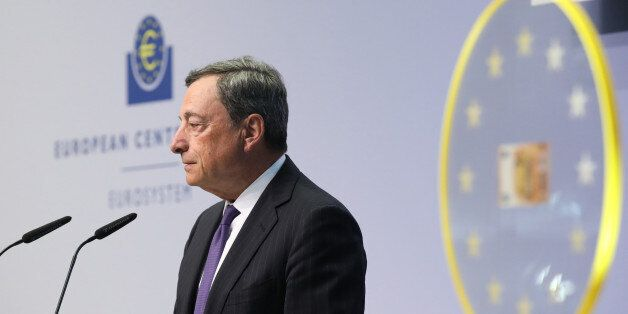 Mario Draghi, president of the European Central Bank (ECB), speaks as he unveils the new 50 euro currency...