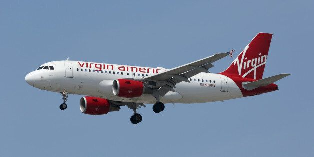 Los Angeles, California - April 19, 2014: A Virgin America Airbus A319 with the registration N526VA on...