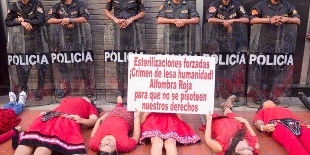 LIMA, PERU - 2016/05/17: Women victims of forced sterilization under the government of Alberto Fujimori...