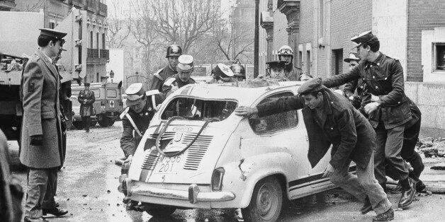 A scene of devastation in Madrid after ETA members assassinated Spanish Prime Minister Luis Carrero Blanco...