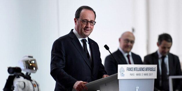 French President Francois Hollande delivers a speech during the launching of French strategy in artificial...