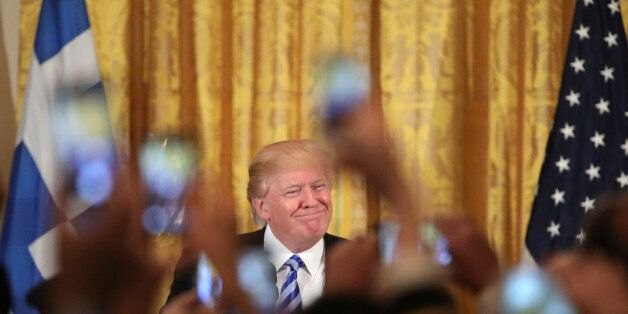 U.S. President Donald Trump hosts a Greek Independence Day celebration at the East room of the White...
