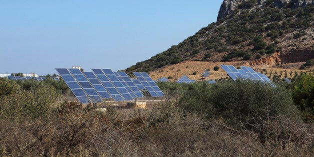 (GERMANY OUT) Photovoltaic modules, also known as solar panels on the island of Crete, Greece (Photo...