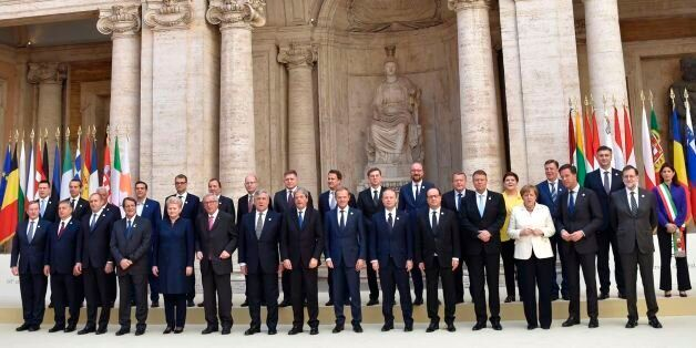 (Front row, LtoR) Taoiseach of Ireland Enda Kenny, Hungary's prime Minister Viktor Orban, President of...