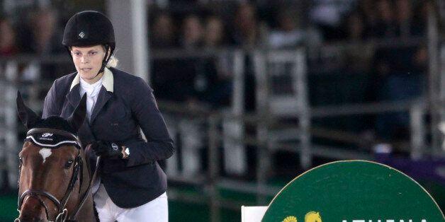 Athina Onassis rides her horse Ad Welcome Du Petit Vivier during the Athina Onassis International Horse...