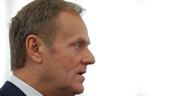 European Council President Donald Tusk delivers a speech during a debate on the future of the E.U. to...