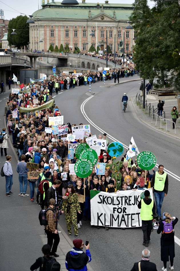 Young activists attend the Fridays for Future global climate strike in Stockholm, Sweden, September 20,