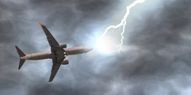 Lightning bolt hits a plane on the air. Digitally generated