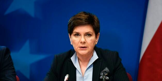 Polish Prime Minister Beata Szydlo holds a press conference on the second day of a European Union Summit...