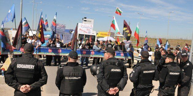 BULGARIA- MARCH 24: Bulgarian security forces take security measures and block the passage of vehicles...