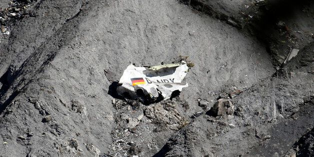 Wreckage of an Airbus A320 is seen at the crash site, near Seyne-les-Alpes, March 26, 2015. A young German...