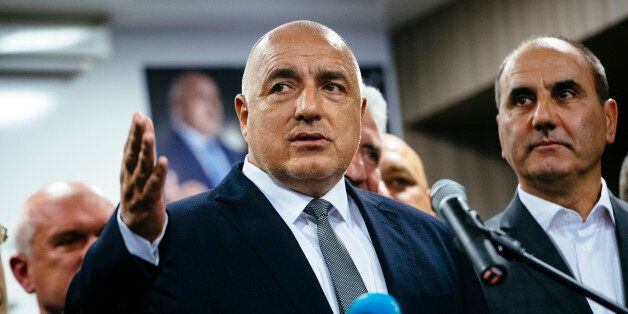 Head of the centre-right GERB party and former prime minister Boyko Borisov speaks to media in Sofia...