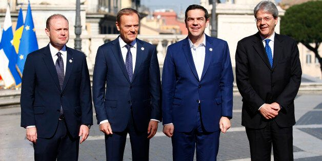 (from L to R) Malta's Prime Minister Joseph Muscat, European Council President Donald Tusk, Greek Prime...