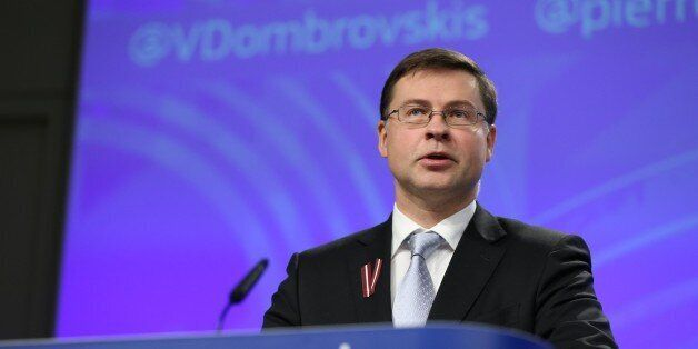 BRUSSELS, BELGIUM - NOVEMBER 16 : European Commission Vice-President Valdis Dombrovskis attends a press...