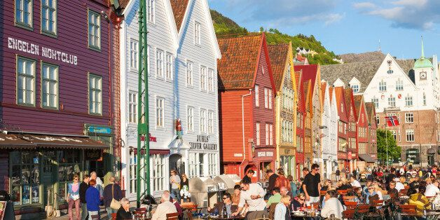 Restaurant at Bryggen in the city of Bergen,