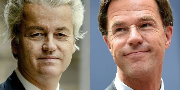 (COMBO) This combination of pictures created on March 13, 2017 shows Dutch politician Geert Wilders (L),...
