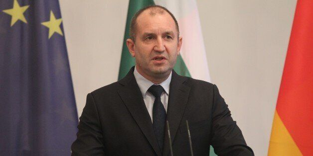 BERLIN, GERMANY - FEBRUARY 06: President of Bulgaria Rumen Radev delivers a speech during a joint press...