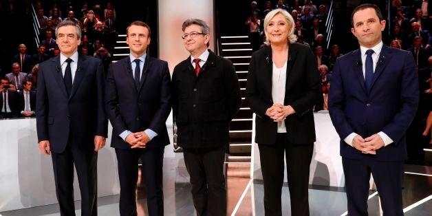 French presidential election candidates, right-wing Les Republicains (LR) party Francois Fillon, En Marche...