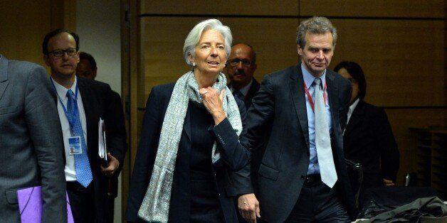 BRUSSELS, BELGIUM - JUNE 22: International Monetary Fund (IMF) Managing Director Christine Lagarde (C)...