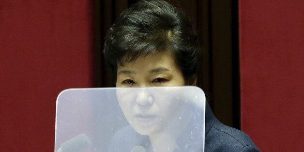 FILE PHOTO: South Korean President Park Geun-hye delivers her speech during a plenary session at the...