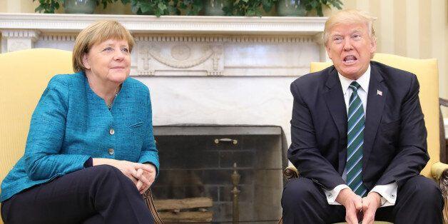 WASHINGTON, D.C - MARCH 17: German Chancellor Angel Merkel and US-President Donald Trump meet with each...