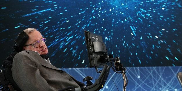 NEW YORK, NEW YORK - APRIL 12: Professor Stephen Hawking onstage during the New Space Exploration Initiative...