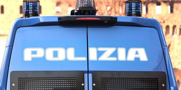 armored car of the Italian police in checkpoint control in the