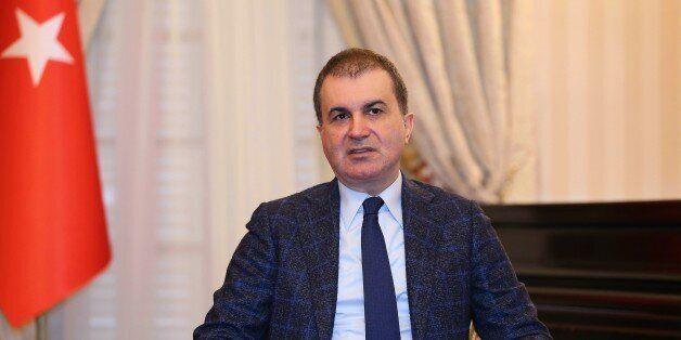 PARIS, FRANCE - FEBRUARY 10: Turkish Minister of European Union Affairs Omer Celik (C) meets journalists...