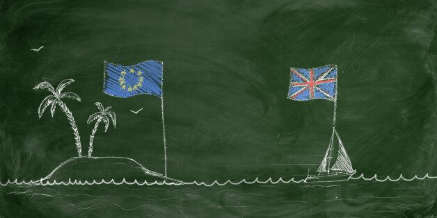 Chalk drawing of a ship with British flag swimming away from an island with European Union flag. Brexit....